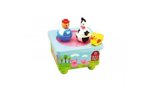 Glasbena skrinjica kmet in krava Music box