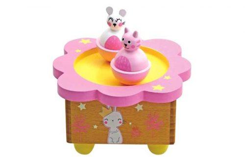 Glasbena skrinjica mucek in zajček Music box